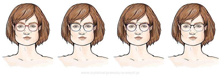 Twarz trapezoidalna: przykładowe okulary damskie