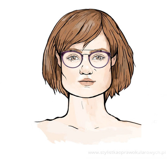Przykładowe okulary damskie dla twarzy trapezoidalnej